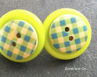 Green and blue button earrings