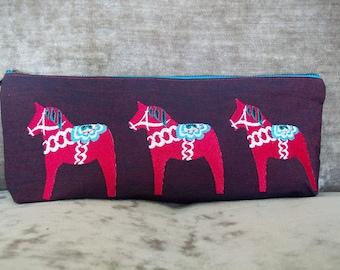 Embroidered Swedish 'Dala' Horse Purse