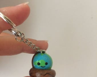 Kawaii globe earth polymer clay keychain keyring