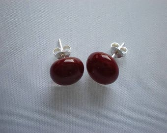 Blood red and transparent glass earrings