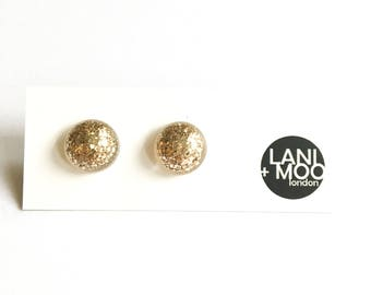 Circle Gold Glitter Sparkle Resin Statement Earrings!