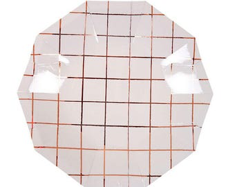 Rose Gold Grid Party Plates (Small)