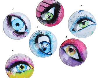 1 round cabochon 20 mm illustrated glass eye.