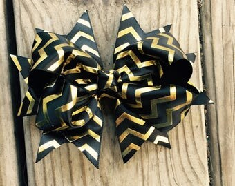 6in Black/Gold Chevron Bow