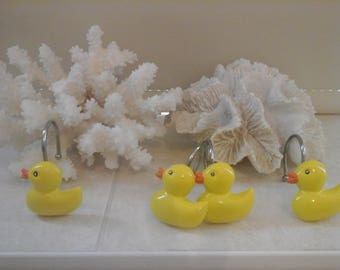 Handpainted 12pcs yellow duck shower curtain ring hook farmhouse bathroom chic cute housewarming birthday Valentines gift her orange silver