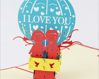 Handmade 3D pop up popup card origami kirigami I love you balloon Valentines birthday card Easter engagement wedding anniversary for her him