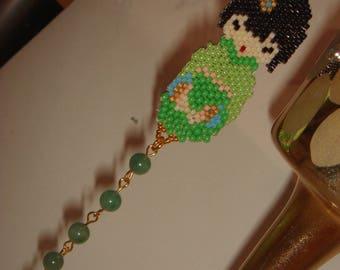 Bookmark MIKO seed beads & jade beads