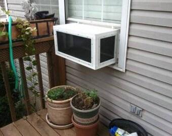 "Kitty Peeper Cat Window Patio-Catio-Solarium (Large model) 24"" wide."