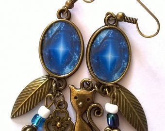 Earrings bronze earrings beautiful cabochonsplendide point light in this dark blue