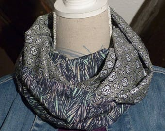 Collar snood scarf F296 tissue fluid leaf impressions and khaki ethnic prints