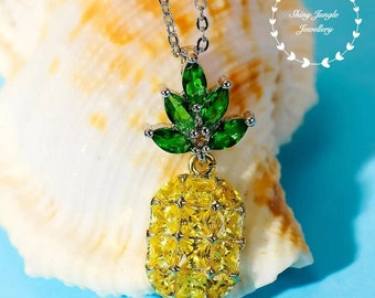 Pineapple necklace, Yellow Diamond Emerald simulant, gold plated sterling silver, Pineapple Jewelry, pendant