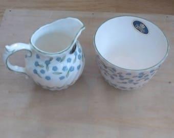 Aynsley milk jug and sugar bowl Forget me not design