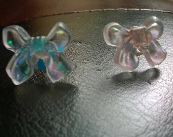 Earrings in clear resin and glitter