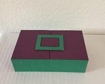 Rectangular box, multifunctional in cardboard, handmade, fabric green with dots and purple way lizard leather.
