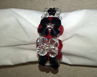 Red and black color seed bead ring