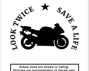 Look Twice Decal Etsy - Custom motorcycle bumper stickers awareness