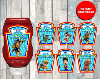 80%OFF Paw Patrol Condiments Label, Printable Paw Patrol Condiments Label, Paw Patrol party Condiments Label instant download