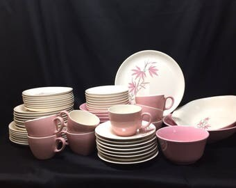 Service for 8 - Pink Bamboo by Salem China 1960's - 59 pieces
