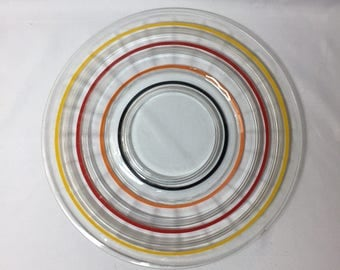 "Serving Platter Anchor Hocking Banded Ring Large 11"" Plate colored stripes"