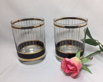 Culver Gold Vertical Stripe with Black Vintage On the Rocks Glasses - set of 2