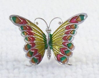 Vintage Beau Sterling Butterfly Brooch