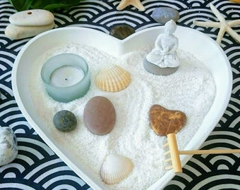 MEDIUM 26 cm heart shaped table Zen garden | white desk heart shape  Zen garden | white Buddha Zen garden ambient Buddha Zen tealight UK