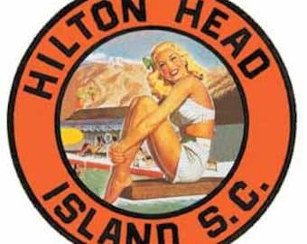 Vintage Style Hilton Head Island SC South Carolina   1960's   Travel Decal sticker