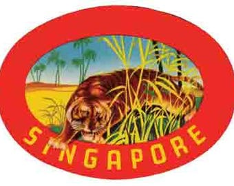 Vintage Style  Singapore Asia    Travel Decal sticker
