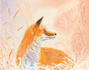 """Winter Fox Christmas Card, 5"""" x 7"""" Folded Note Card printed on 100 lb weight paper with satin cover, with envelope"""