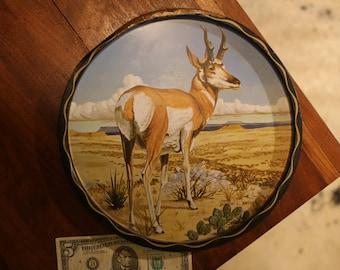 Vintage Pronghorn Antelope Tin Tray