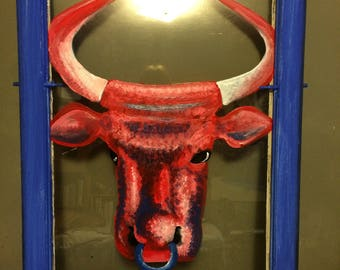 Red Bull Painted Vintage Window
