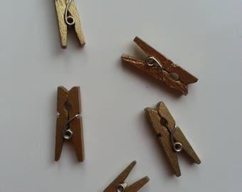 lot de 5 epingles à linge en bois dorée 2.50cm