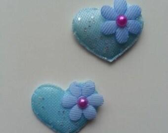 Lot de 2 appliques matelassé coeur et fleur  bleu 32mm