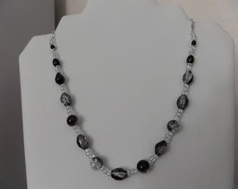 Fine silver metal chain necklace Crystal/Black round beads and olive black Crackle Glass, solid twisted wire, glass seed beads.