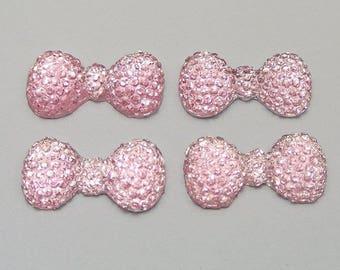 Bow Pink Rhinestone paste (x 12)