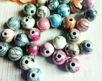 6 large pearls 12 mm striped acrylic
