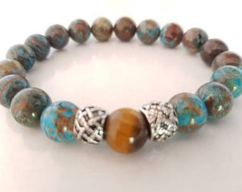 Chrysocolla, Tiger eye men bracelet