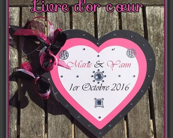 Heart Wedding guest book Fuchsia and black