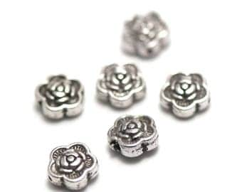 """10 pearls has """"puck flower 1"""", 7 x 3 mm, silver, 079"""