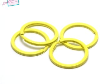"4 rings keychain ""rings"" 30 x 3 mm metal yellow Canary"