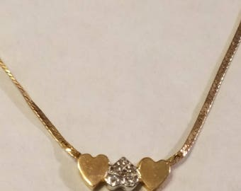 """Women's Heart Necklace 14k Solid Gold -16"""", 2.4 Grams, 1.5mm"""