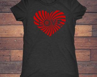 Love Heart - Trendy Red Heart Design on Super Soft Tri Blend Vintage Black Tee