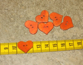 lot 6 buttons at the widest point 2 cm thickness 3 mm orange heart wood