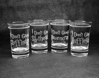"Set of Four 1-oz ""Hogwords"" Laser-Engraved Shot/Dessert Glasses"