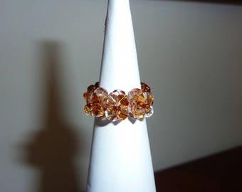 glossy brown swarovski crystal beaded ring
