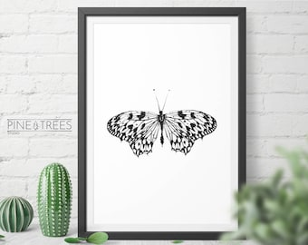 Minimalistic Black and White Butterfly printable art for home and office - digital download you can print in any size