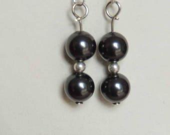 Silver plated Stud Earrings, black Swarovski pearls
