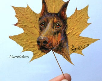 Nature art Original painting on maple leaf painted leaf, painting on leaves, eco-friendly art, original art, gift for dogs lovers