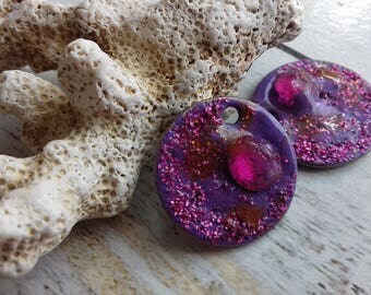 charms fuchsia and purple brass enameled for creating jewelry