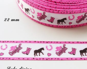 Border white grosgrain Ribbon pink horse Cowboy 22 mm sold by 50 cm